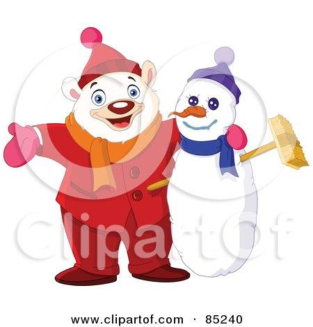 Royalty-Free (RF) Clipart Illustration of a Winter Polar Bear With His Arm Around A Snowman by yayayoyo