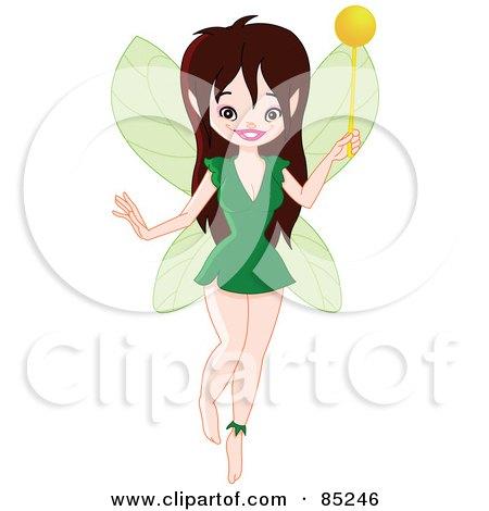 Pretty Brunette Pixie In A Green Dress Posters, Art Prints