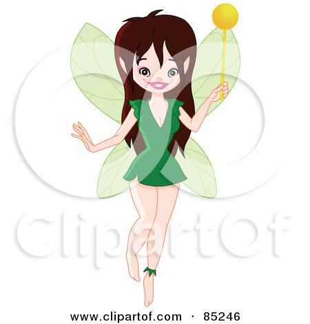 Royalty-Free (RF) Clipart Illustration of a Pretty Brunette Pixie In A Green Dress by yayayoyo