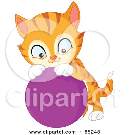 Royalty-Free (RF) Clipart Illustration of a Cute Striped Marmalade Cat Playing With A Purple Ball by yayayoyo