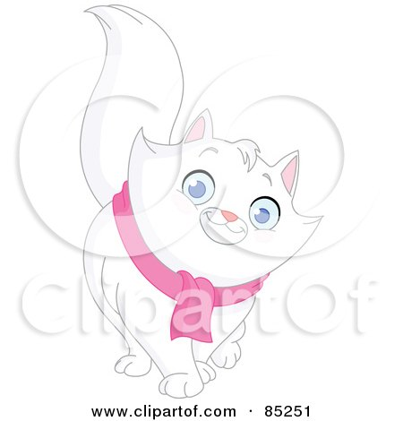 Royalty-Free (RF) Clipart Illustration of a Friendly White Long Haired Cat Wearing A Pink Scarf by yayayoyo