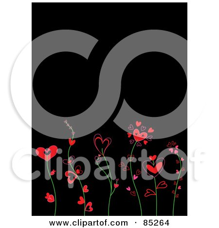 Royalty-Free (RF) Clipart Illustration of Red And Pink Heart Flowers On Green Stems Over Black by yayayoyo