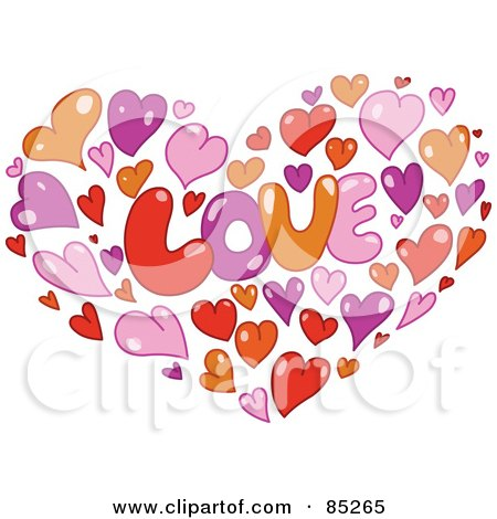 Orange, Pink, Purple And Red Hearts Forming A Heart Around The Word LOVE Posters, Art Prints