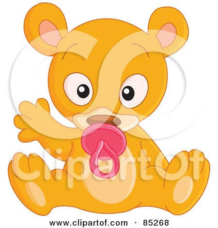Royalty-Free (RF) Clipart Illustration of a Cute Baby Bear Sucking On A Pacifier And Waving by yayayoyo