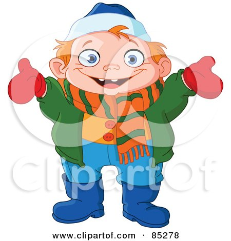 Royalty-Free (RF) Clipart Illustration of a Happy Boy Dressed In Winter Gear, Holding His Arms Open by yayayoyo