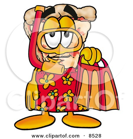 Clipart Picture of a Slice of Pizza Mascot Cartoon Character in Orange and Red Snorkel Gear by Toons4Biz