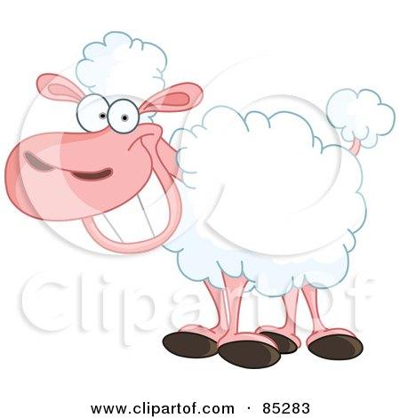 Royalty-Free (RF) Clipart Illustration of a Happy Grinning Sheep by yayayoyo