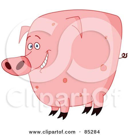 Royalty-Free (RF) Clipart Illustration of a Chubby Pink Spotted Pig by yayayoyo