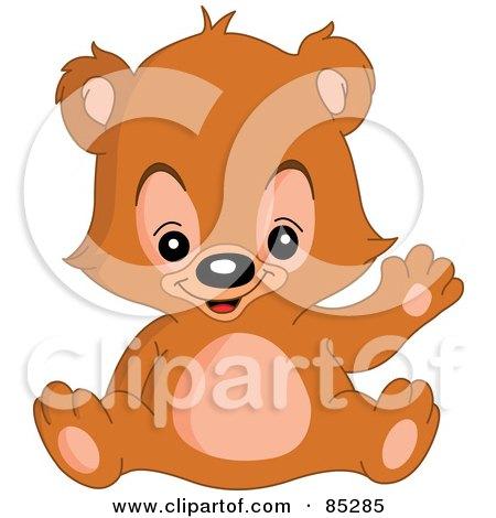 Royalty-Free (RF) Clip Art Illustration of a Waving Adorable Teddy Bear by yayayoyo