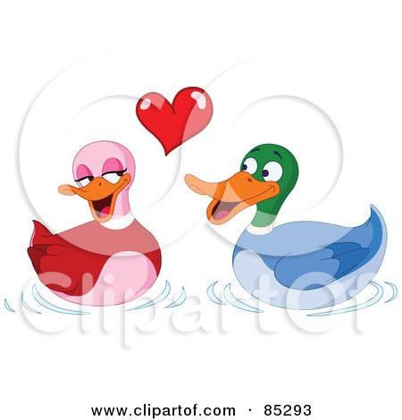 Royalty-Free (RF) Clipart Illustration of Two Adorable Ducks In Love Under A Red Heart by yayayoyo