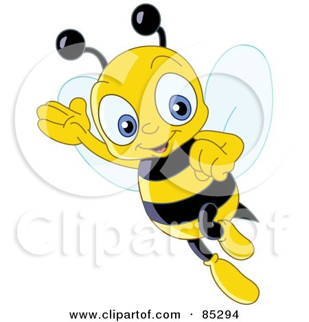 Friendly Cute Bee Waving And Flying Posters, Art Prints