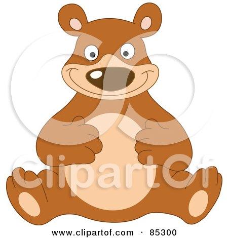 Royalty-Free (RF) Clipart Illustration of a Happy Brown Bear Rubbing His Tummy by yayayoyo