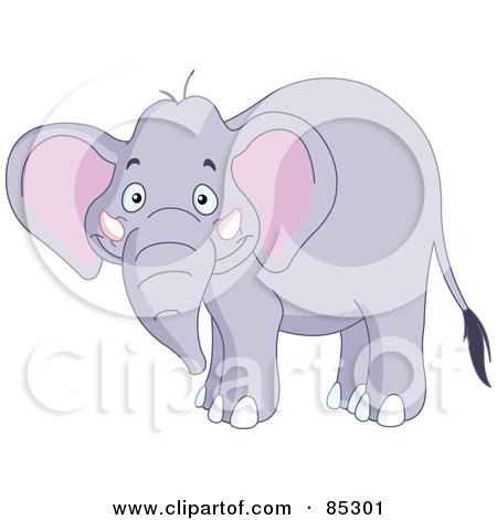 Royalty-Free (RF) Clipart Illustration of a Happy Pachyderm Smiling by yayayoyo