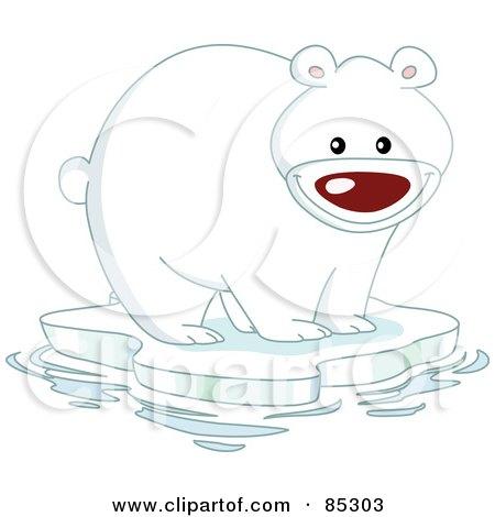 Royalty-Free (RF) Clipart Illustration of a Happy Polar Bear On A Sheet Of Ice In The Arctic by yayayoyo