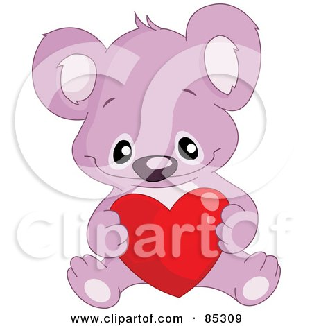 Royalty-Free (RF) Clipart Illustration of a Cute Purple Koala With A Red Heart by yayayoyo