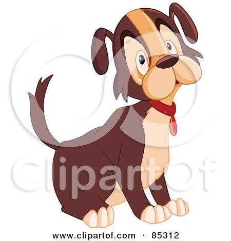 Royalty-Free (RF) Clipart Illustration of a Sad Brown And Tan Dog Sitting by yayayoyo
