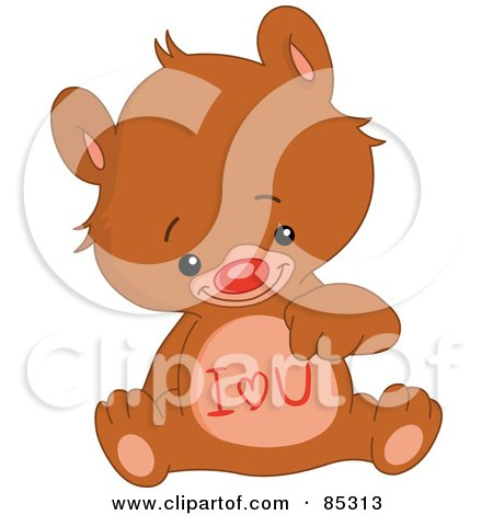 Royalty-Free (RF) Clipart Illustration of a Cute Bear With I Love You On His Belly by yayayoyo
