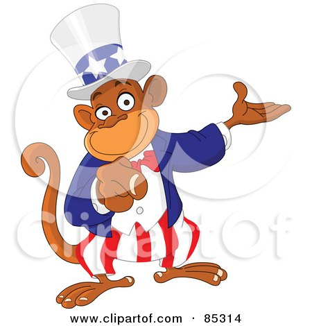 Royalty-Free (RF) Clipart Illustration of a Pointing Uncle Sam Monkey by yayayoyo
