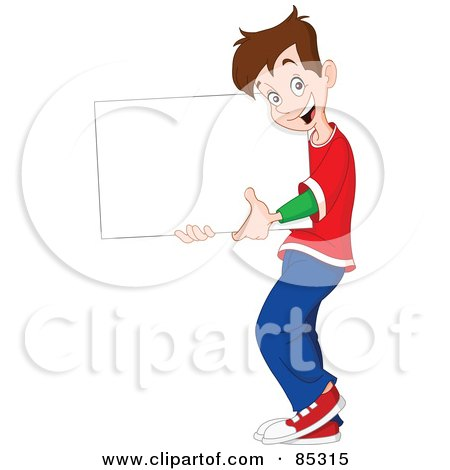 Royalty-Free (RF) Clipart Illustration of a Happy Brunette Boy Holding A Blank Sign by yayayoyo