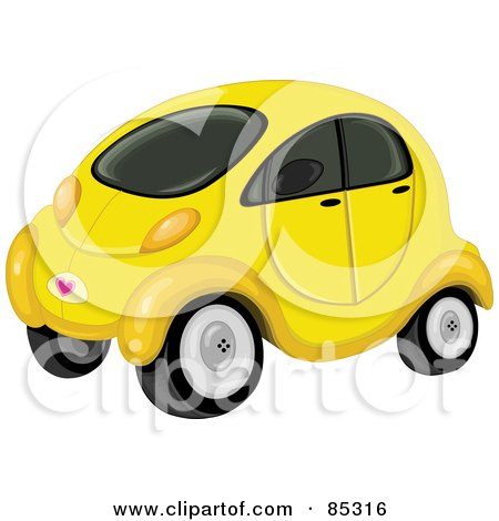 Royalty-Free (RF) Clipart Illustration of a Cute Compact Yellow Car With Tinted Windows by yayayoyo