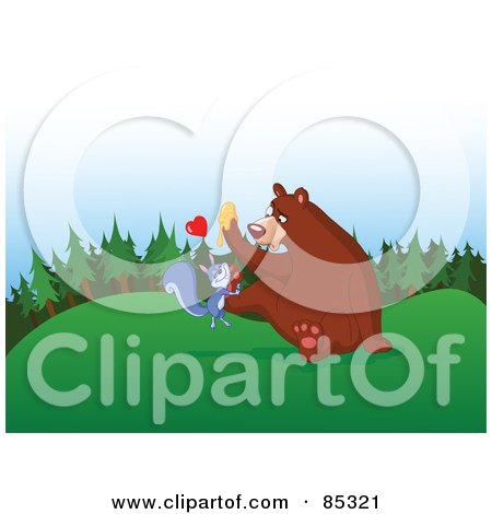 Royalty-Free (RF) Clipart Illustration of a Bear With Honey On His Paw, Trying To Shake Off An Infatuated Squirrel by yayayoyo