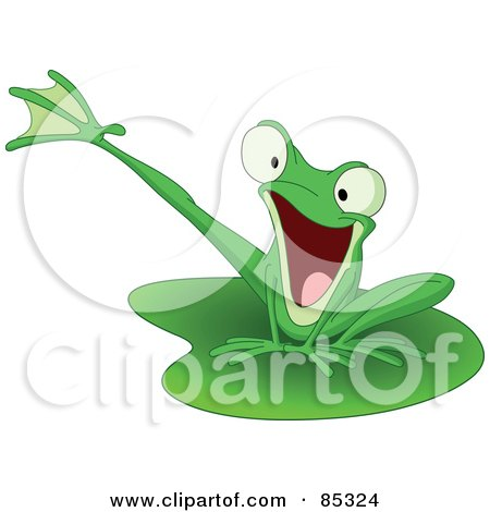 Energetic Green Kicking Frog On A Lily Pad Posters, Art Prints