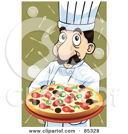 Royalty-Free (RF) Clipart Illustration of a Friendly Pizza Pie Chef With A Supreme Pizza by mayawizard101