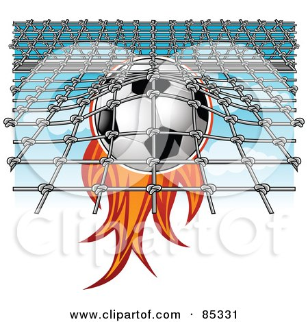 Royalty-Free (RF) Clipart Illustration of a Flaming Soccer Ball Smashing Into A Net by mayawizard101