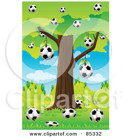 Soccer Balls Below And Hanging From A Tree In A Hilly Landscape Posters, Art Prints