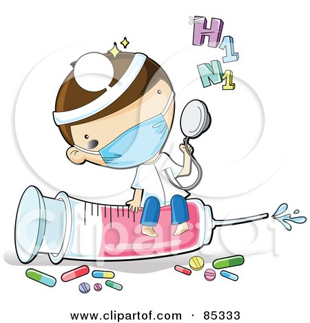 Royalty Free RF Clipart Illustration Of A Cute Male Doctor Wearing A Mask And Headlamp Holding Up A Stethoscope And Sitting On A Syringe
