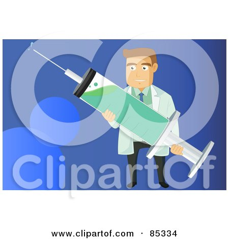 Royalty-Free (RF) Clipart Illustration of a Male Caucasian Doctor Holding A H1n1 Vaccine Syringe Over Blue by mayawizard101