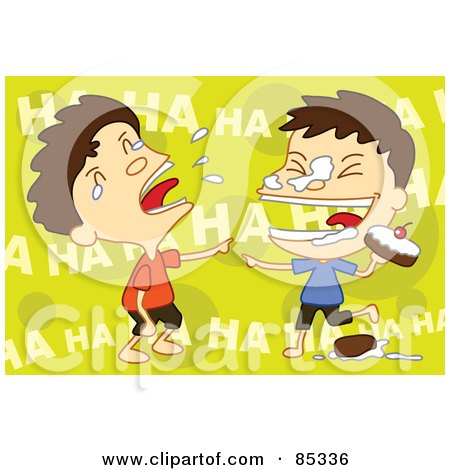 Royalty-Free (RF) Clipart Illustration of Twin Boys Laughing During A Food Fight by mayawizard101