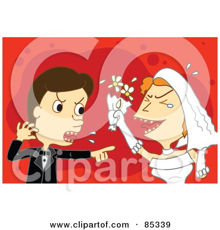 Royalty-Free (RF) Clipart Illustration of a Caucasian Wedding Couple Fighting And Screaming by mayawizard101