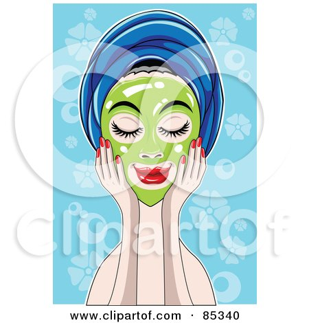 Royalty-Free (RF) Clipart Illustration of a Relaxed Woman Touching A Green Mask On Her Face, Her Hair In A Towel by mayawizard101