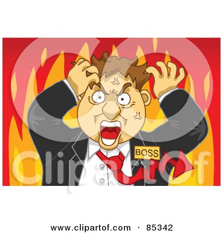 Royalty-Free (RF) Clipart Illustration of a Flaming Mad Boss With A Red Arrow Tie, Grabbing His Hair by mayawizard101