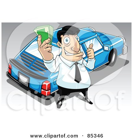 Royalty-Free (RF) Clipart Illustration of a Car Salesman Holding Cash And Standing By A Blue Car by mayawizard101