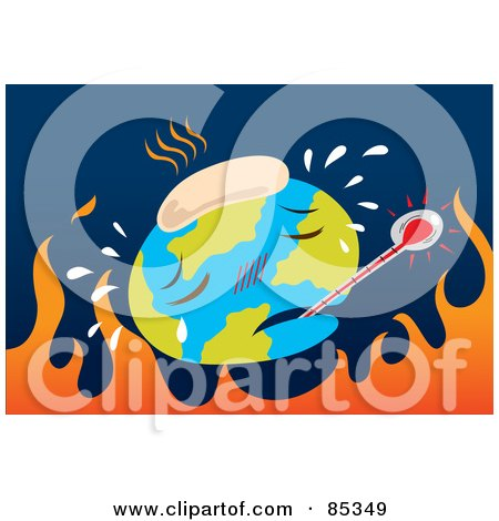 Royalty-Free (RF) Clipart Illustration of an Ill Globe With A Thermometer And Cold Pack Over Flames On Blue by mayawizard101
