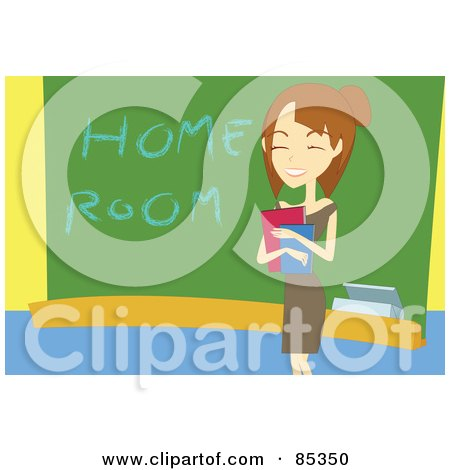 Royalty-Free (RF) Clipart Illustration of a Friendly Young Female Teacher Holding Books And Smiling By A Home Room Chalk Board by mayawizard101