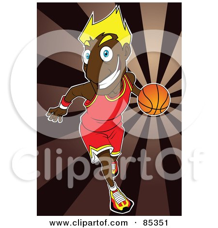 Black Basketballer With Blond Hair, Dribbling A Ball Over A Brown Burst Posters, Art Prints