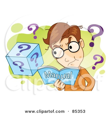 Royalty-Free (RF) Clipart Illustration of a Confused Man Reading A Manual, Over Green And White With Question Marks by mayawizard101