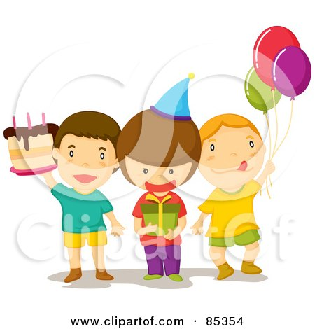Royalty-Free (RF) Clipart Illustration of Three Birthday Party Guest Boys With A Cake, Present And Balloons by mayawizard101