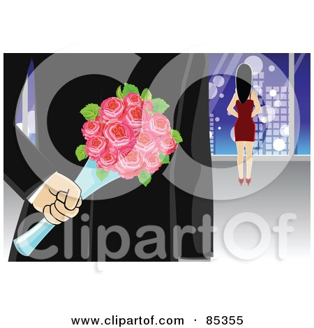 Royalty-Free (RF) Clipart Illustration of a Secretive Gentleman Holding Roses Behind His Back While Walking Towards A Woman by mayawizard101