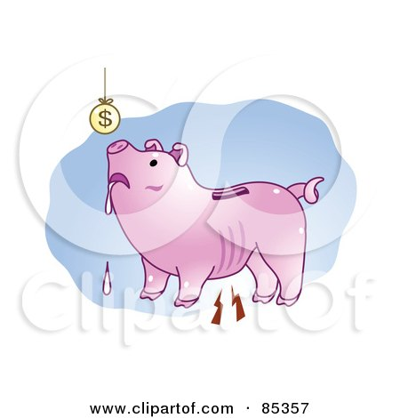 Royalty-Free (RF) Clipart Illustration of a Poor Drooling Piggy Bank Looking Up At A Suspended Coin by mayawizard101