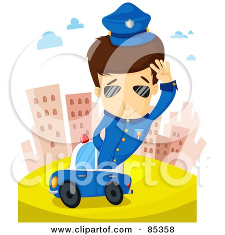 Royalty-Free (RF) Clipart Illustration of a Brunette Police Man Saluting And Sticking Out Of His Car In The City by mayawizard101