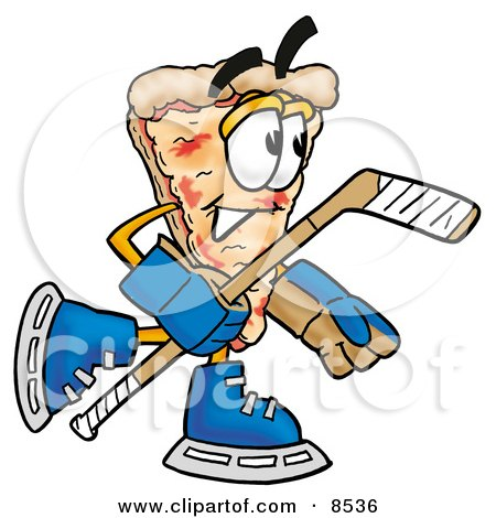 Clipart Picture of a Slice of Pizza Mascot Cartoon Character Playing Ice Hockey by Toons4Biz