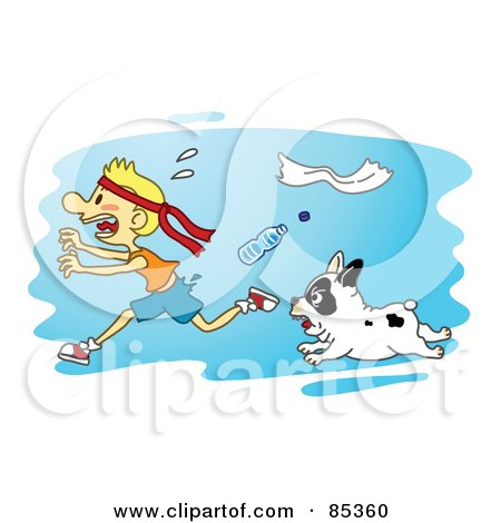 Royalty-Free (RF) Clipart Illustration of a Tough Little Bulldog Chasing A Scared Running Boy by mayawizard101