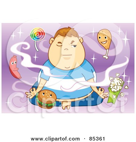 Royalty-Free (RF) Clipart Illustration of a Fat Boy Meditating And Trying To Motivate Healthy Food Thoughts While Being Circled By Junk Food by mayawizard101