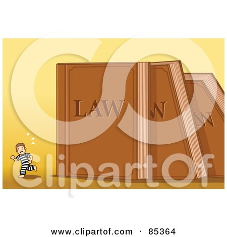 Royalty-Free (RF) Clipart Illustration of a Tiny Prisoner Running From Toppling Giant Law Books Over Yellow by mayawizard101