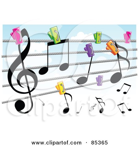 Royalty-Free (RF) Clipart Illustration of a Colorful Clips Pinning Music Notes To A Clothes Line Against A Cloudy Sky by mayawizard101