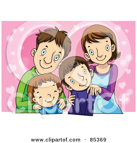 Royalty-Free (RF) Clipart Illustration of a Happy Smiling Family Of Four Posing In Front Of Pink Hearts by mayawizard101